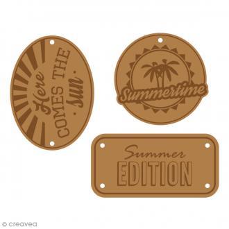 Etiquettes en cuir à coudre - Marron clair - Summertime - De 4 à 5,7 cm - 3 pcs