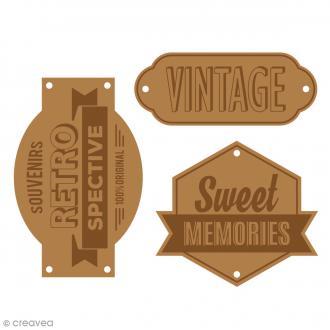 Etiquettes en cuir à coudre - Marron clair - Sweet Memories - De 5 à 6,2 cm - 3 pcs