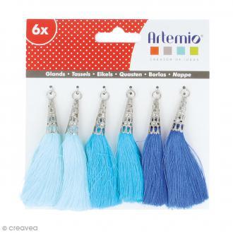 Set de pompons tassels 8 cm - Camaieu bleu - 6 pcs