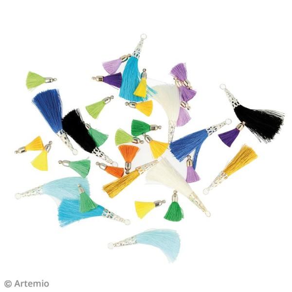 Set de pompons tassels 3 cm - Camaieu jaune - 8 pcs - Photo n°2