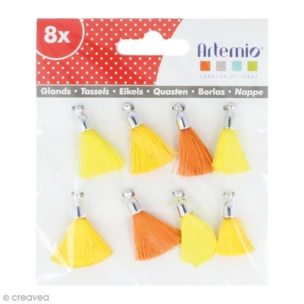 Set de pompons tassels 3 cm - Camaieu jaune - 8 pcs - Photo n°1