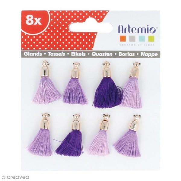 Set de pompons tassels 3 cm - Camaieu violet - 8 pcs - Photo n°1