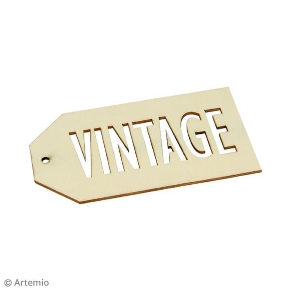 Grandes étiquettes en bois à décorer - Vintage - 3 pcs - Photo n°3