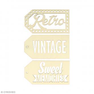Grandes étiquettes en bois à décorer - Vintage - 3 pcs