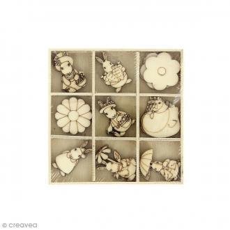 Set de mini silhouette en bois - Pâques - 2,5 cm - 27 pcs