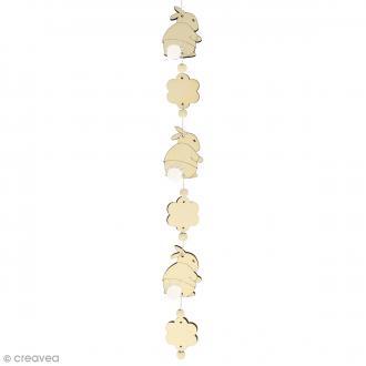 Kit guirlande en bois - Lapin et fleurs
