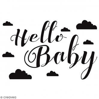 Tampon bois Hello Baby - 6 x 4 cm