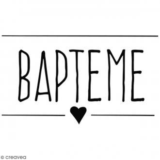 Tampon bois Bapteme - 4 x 3 cm