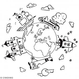 Tampon bois Planète garçon - 7 x 7 cm