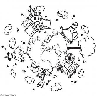 Tampon bois Planète fille - 7 x 7 cm