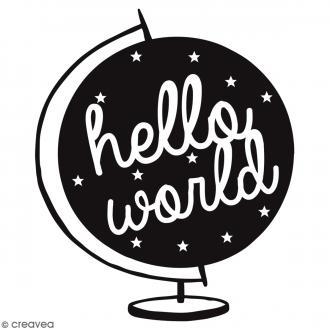 Tampon bois Hello World - 4 x 4 cm