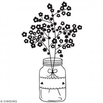 Tampon bois Bocal fleurs - 7 x 5 cm