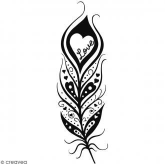 Tampon bois Plume Love - 9 x 3 cm