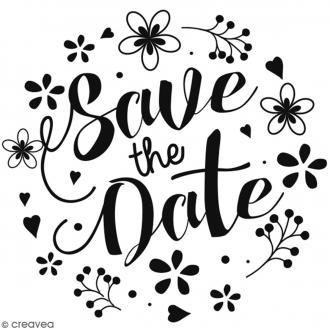 Tampon bois Save the date fleuri - 6 x 6 cm