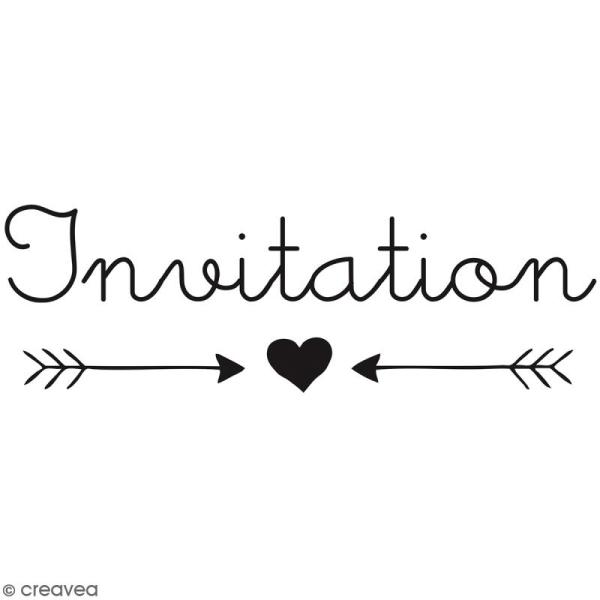 Tampon bois Invitation - 6 x 3 cm - Photo n°1