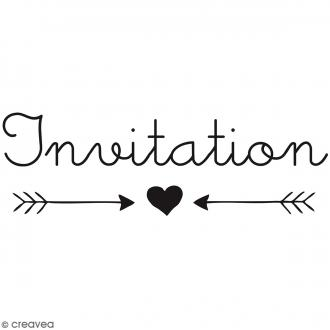 Tampon bois Invitation - 6 x 3 cm