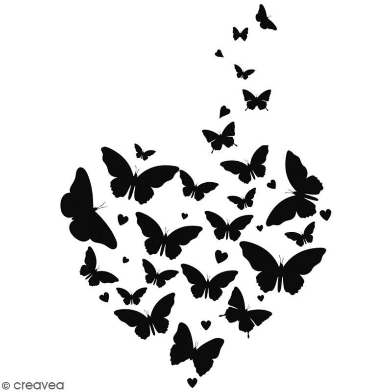 Tampon bois Coeur papillons - 7 x 5 cm - Photo n°1
