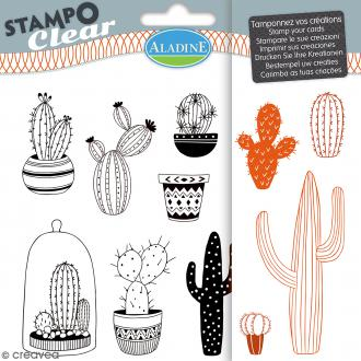 Tampon clear Aladine - Cactus - Planche 15 x 12,5 cm - 11 Stampo'clear