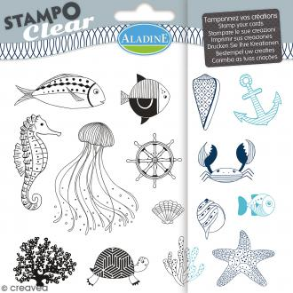 Tampon clear Aladine - Poisson - Planche 15 x 12,5 cm - 15 Stampo'clear