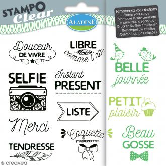 Tampon clear Aladine - Phrases et Expressions - Planche 15 x 12,5 cm - 11 Stampo'clear