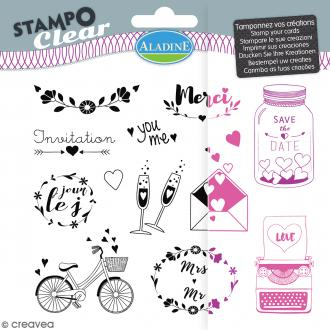 Tampon clear Aladine - Mariage - Planche 15 x 12,5 cm - 13 Stampo'clear