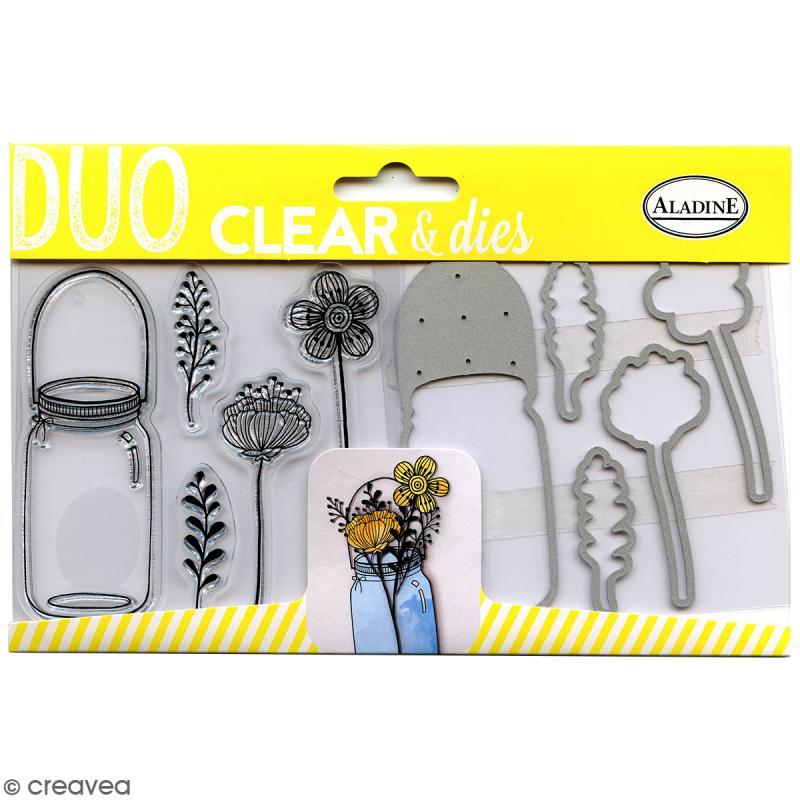 pack duo clear dies bocal fleur 10 pcs tampon transparent creavea. Black Bedroom Furniture Sets. Home Design Ideas