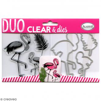 Pack Duo Clear & Dies - Flamant rose - 6 pcs