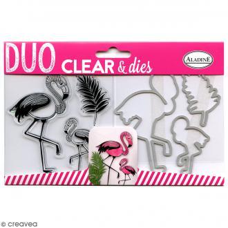 Pack Duo Clear & Dies - Flamant rose - 6 pcs
