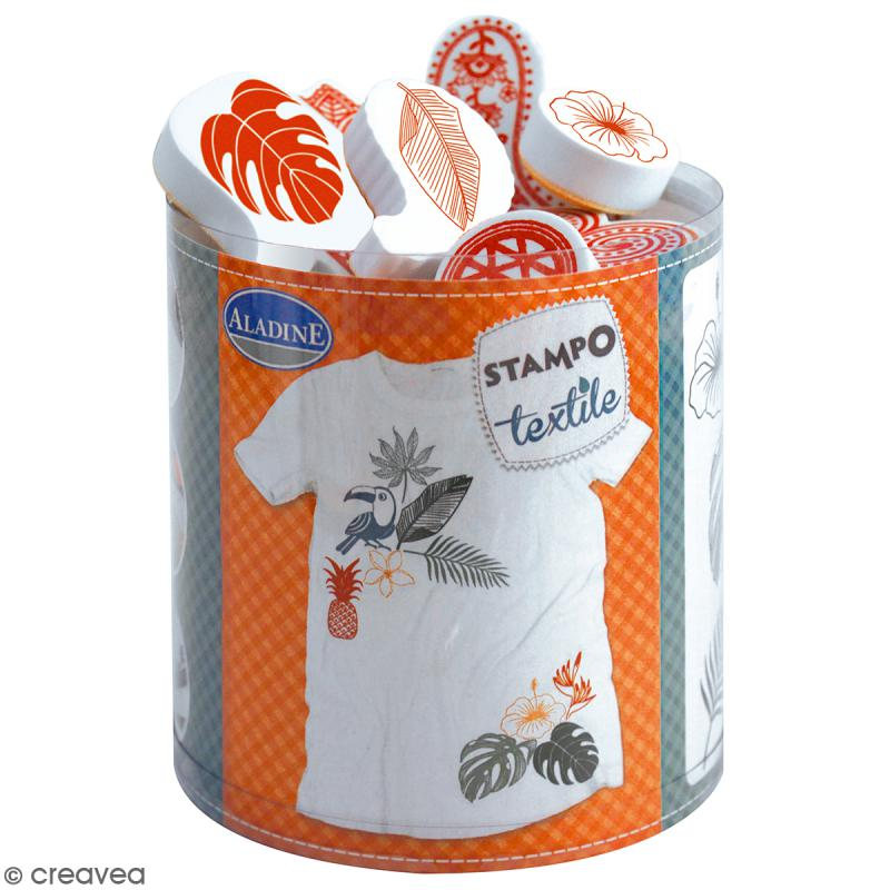 Stampo'textile - Kit de tampons avec encreur - Tropical - 11 pcs - Photo n°1