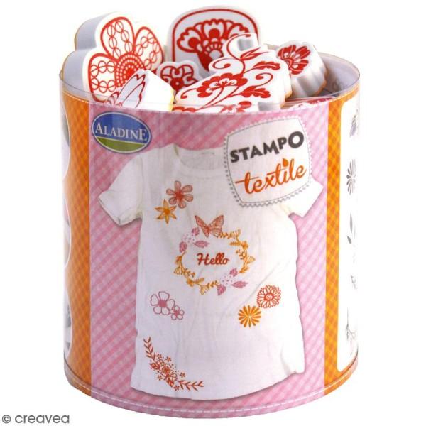 Stampo'textile - Kit de tampons avec encreur - Couronne de fleurs - 20 pcs - Photo n°1
