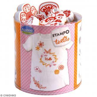 Stampo'textile - Kit de tampons avec encreur - Couronne de fleurs - 20 pcs