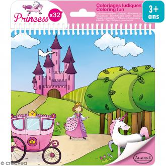 Carnet de coloriage Princess - 17 x 18 cm - 32 pages