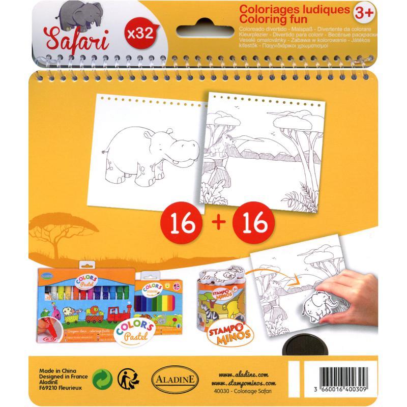 Carnet de coloriage Safari - 17 x 18 cm - 32 pages - Photo n°2