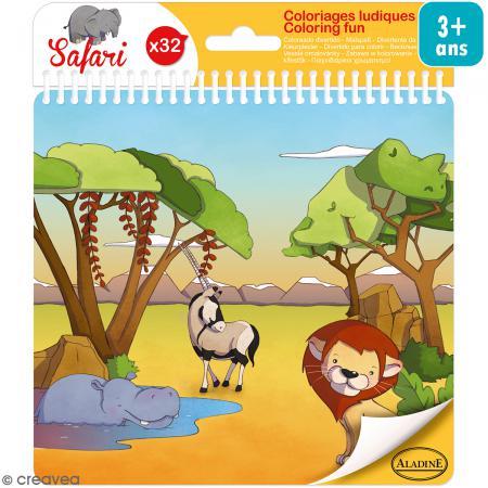 Carnet de coloriage Safari - 17 x 18 cm - 32 pages - Photo n°1