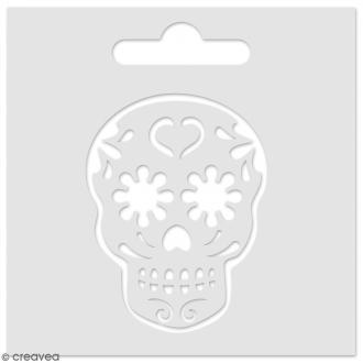 Pochoir pour pâte de texture 3D - Tête de mort - 8 x 8 cm