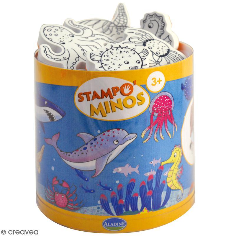 Kit Stampo Minos - Mer - 11 tampons + 1 encreur noir - Photo n°1