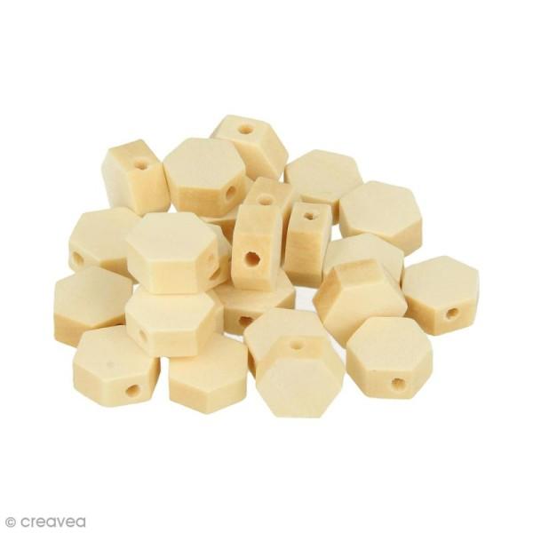 Perles plates hexagonales en bois à décorer - 10 mm - 25 pcs - Photo n°1