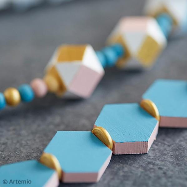 Perles plates hexagonales en bois à décorer - 20 mm - 15 pcs - Photo n°2