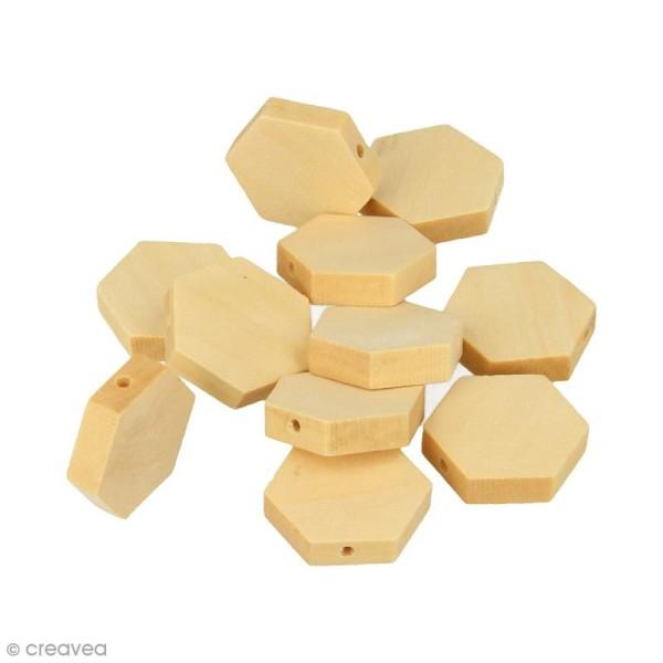 Perles plates hexagonales en bois à décorer - 20 mm - 15 pcs - Photo n°1