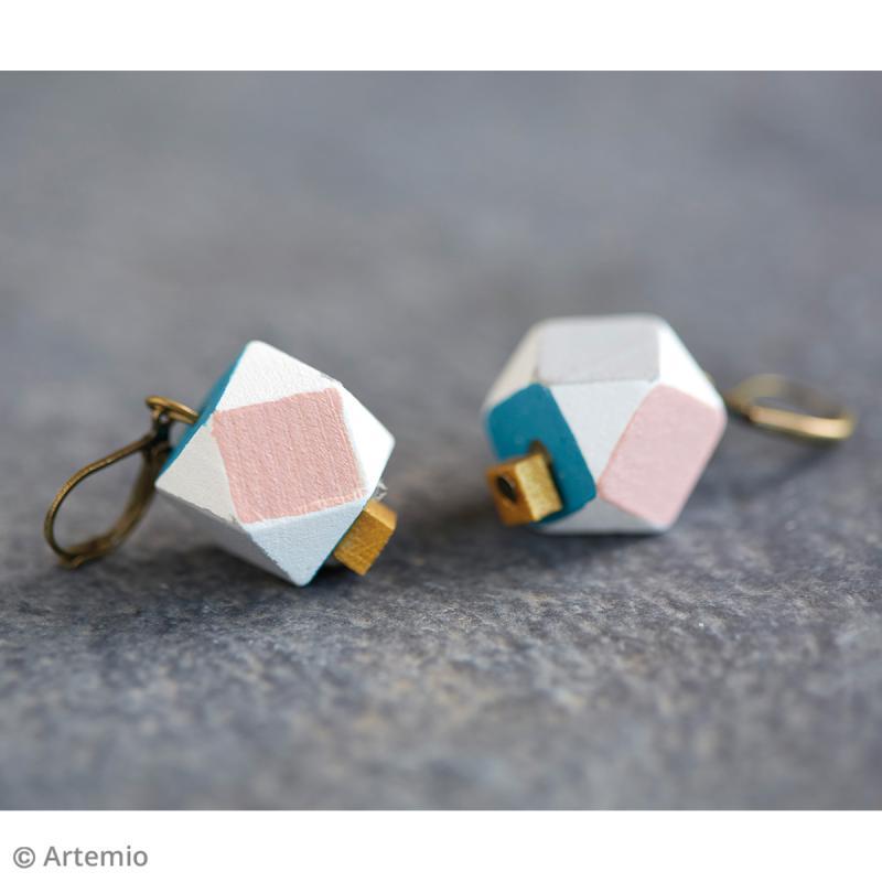 Perles polygonales en bois à décorer - 15 x 15 mm - 10 pcs - Photo n°2