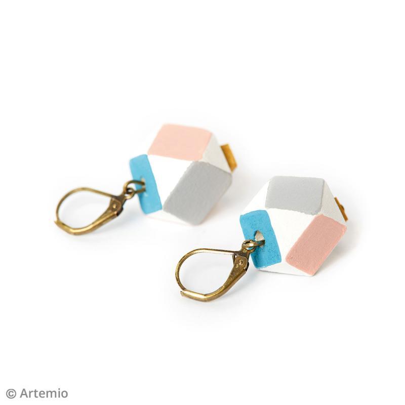 Perles polygonales en bois à décorer - 15 x 15 mm - 10 pcs - Photo n°3