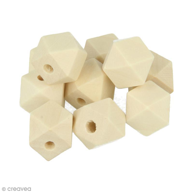 Perles polygonales en bois à décorer - 15 x 15 mm - 10 pcs - Photo n°1