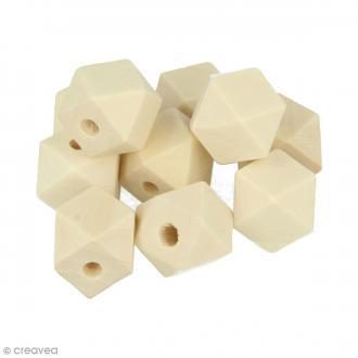 Perles polygonales en bois à décorer - 15 x 15 mm - 10 pcs