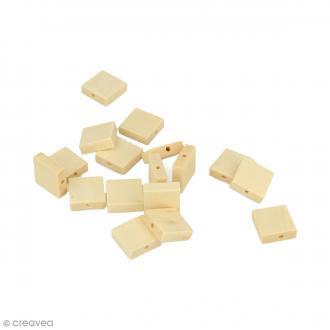 Perles plates carrées en bois à décorer - 15 mm - 30 pcs