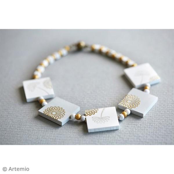 Perles plates carrées en bois à décorer - 30 mm - 12 pcs - Photo n°2