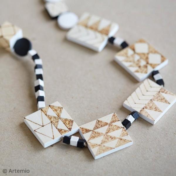 Perles plates carrées en bois à décorer - 30 mm - 12 pcs - Photo n°3