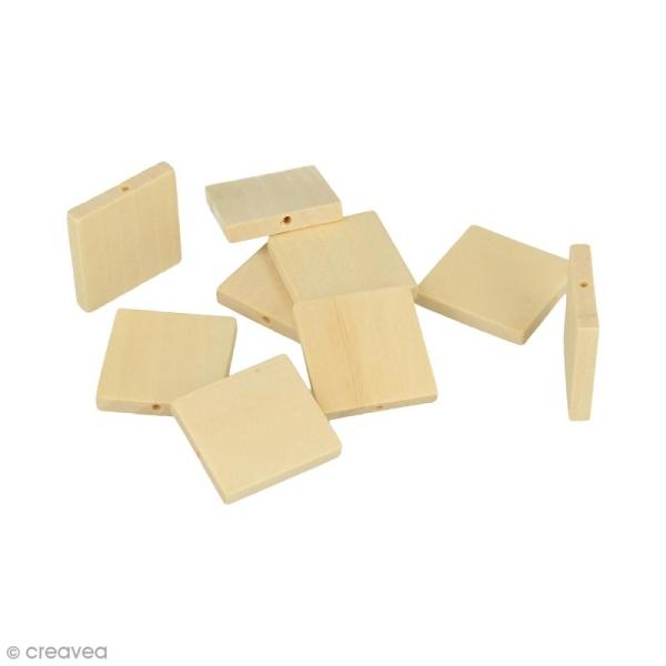 Perles plates carrées en bois à décorer - 30 mm - 12 pcs - Photo n°1