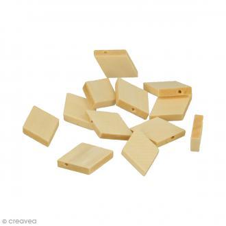 Perles plates losanges en bois à décorer - 29 x 19,5 mm - 12 pcs