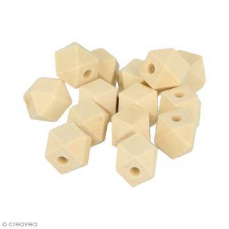 Perles polygonales en bois à décorer - 16 x 12 mm - 14 pcs
