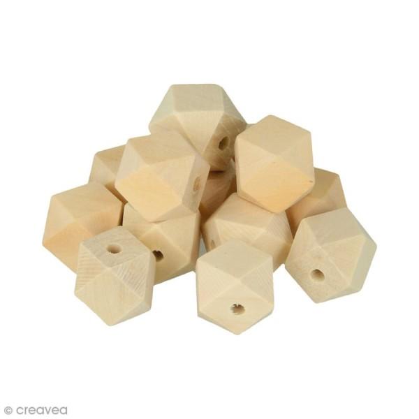 Perles polygonales en bois à décorer - 20 x 27 mm - 8 pcs - Photo n°1
